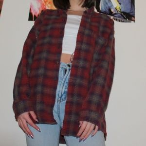 Vintage Oversized Maroon Plaid Flannel Button Down